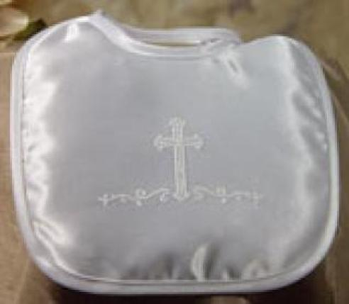 Matte Satin  Bib W/Puff Silk Screened Cross