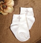 Nylon Anklet W/Embroidered Cross Applique