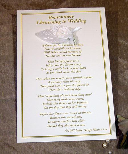 Boys Christening to Wedding Boutonierre