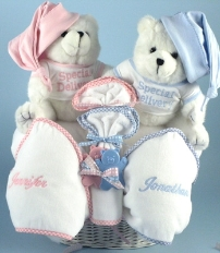 Twin Bear Basket - Personalized