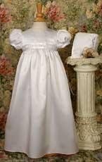 Satin Christening Gown W/Rosette Trim