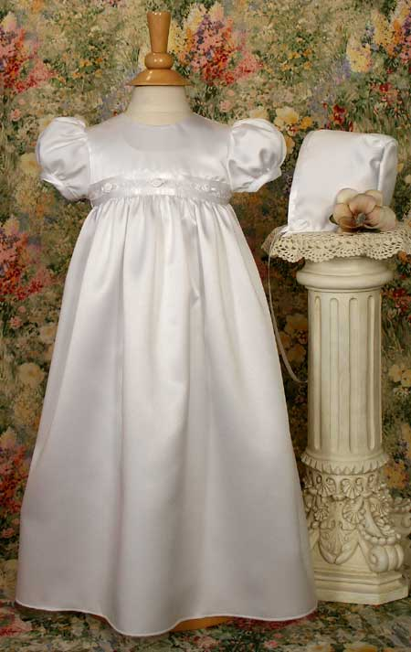 Satin Christening Gown W/Rosette Trim