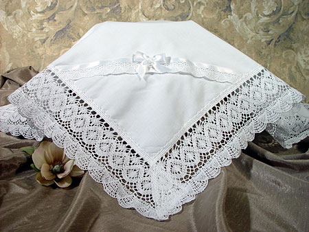 Cotton Batiste Girls Christening Blanket  W/Cluny Lace