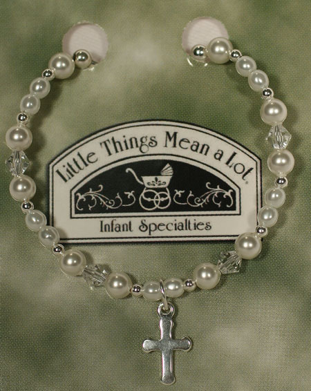 Pearl And Silver Bracelet W/Cross