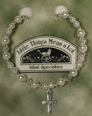 Pearl And Silver Bracelet W/Cross