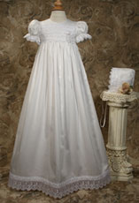 Cotton Sateen Christening Gown W/Heart Embroidered Organza Lace