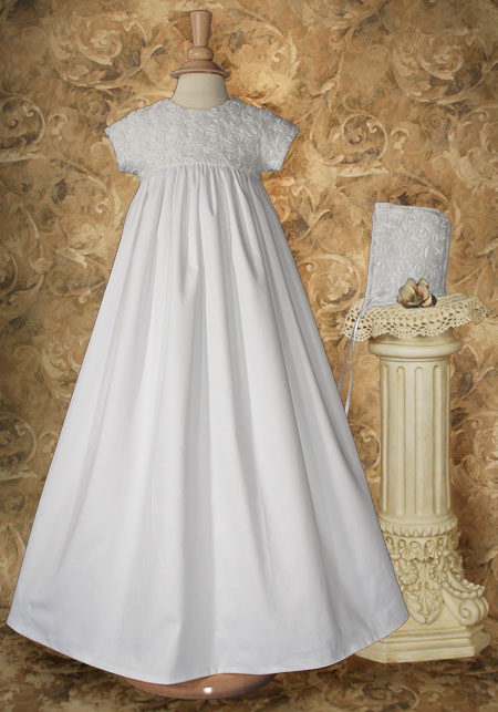 Cotton Sateen Gown with Rosette Netting