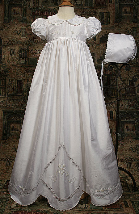 Silk Dupioni Gown W/Hand Embroidery & Scalloped Hem
