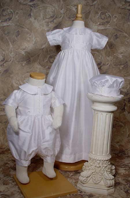 Dupioni Silk Christening Gown/Romper Combination