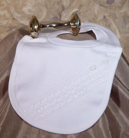 Cotton Knit Bib W/Windowpane Trim & Buttons