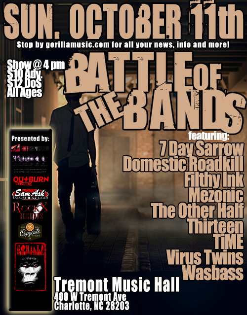What's up Charlotte? Come show your boy(MEZONIC) support at this Battle of the Bands Competition. Order NOW $10 ADV tickets!!
