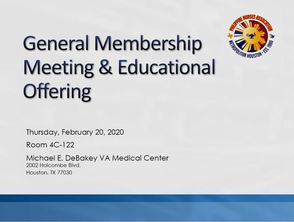 PNAMH General Membership Meeting & Educational Offering