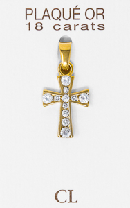 Gold Plated Cross with Cubic Zirconium Stones.