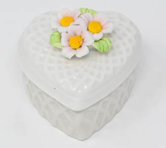 White Porcelain Heart Rosary Box.