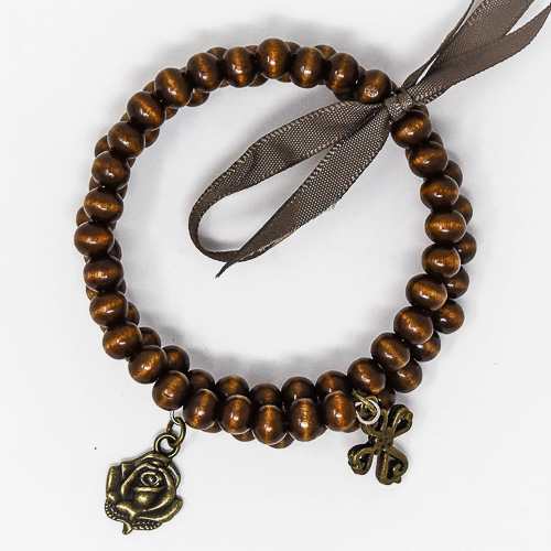Wooden Memory Wire Rosary Bracelet