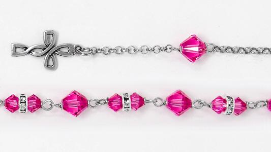 Pink Swarovski Crystal Silver Rosary Bracelet