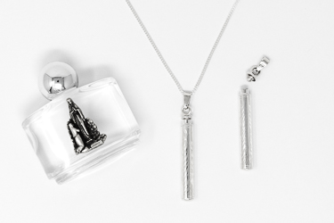 Engraved Holy Water Pendant Bottle Necklace.