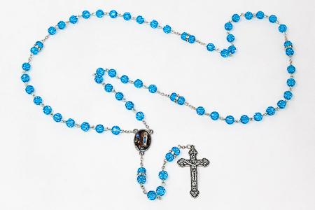 Lourdes Aqua Rosary Beads.