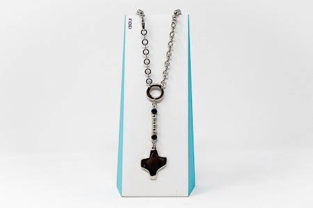 Fidei Black Silver Rosary�Necklace.