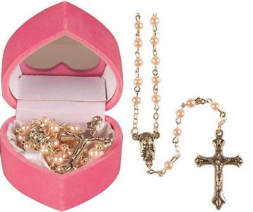 Glass Baby Pink Rosary Beads