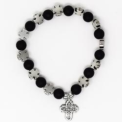Black Cross Bracelet - 8 Way Cross Medal.