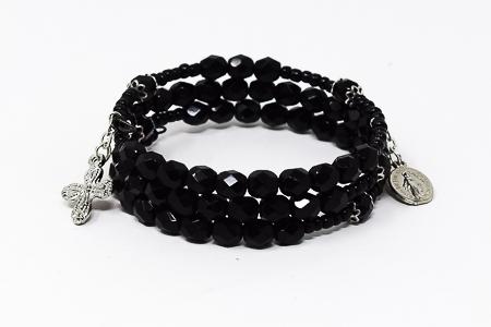 Memory Wire Rosary Bracelet Black.