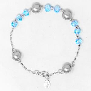 Blue Miraculous Crystal Rosary Bracelet.