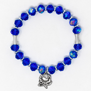Blue Crystal Apparition Rosary Bracelet.