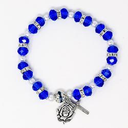 Blue Miraculous Rosary Bracelet.