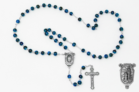 Blue Lourdes Water Rosary Beads