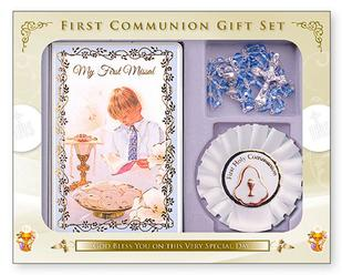 Boys Communion Rosette Gift Set.