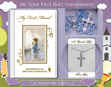 Boys Silver Plated Crucifix and Missal Gift Set.