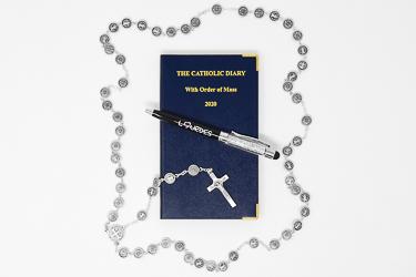 Catholic Diary & St Benedict Rosary Gift Set.