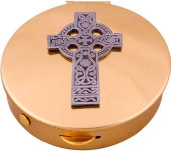 Bronze Pyx with Celtic Cross Design.
