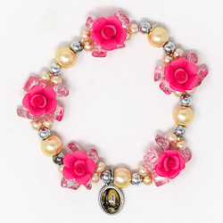Elastic Pink Rose Apparition Bracelet.