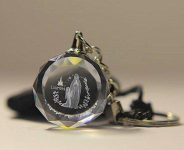 Lourdes Crystal Laser Key Ring.