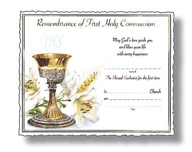 Communion Certificate.