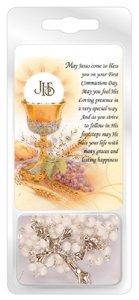 White Communion Rosary Beads.