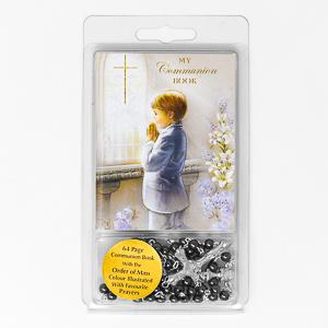 Boys Hematite Communion Rosary.