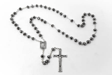 Lourdes Apparition Diamond Cut Rosary Beads