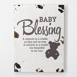 Distressed Wall Plaque - Baby Blessing.