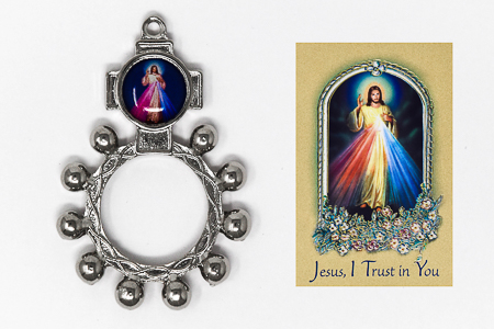 Rosary Ring and Divine Mercy Leaflet.