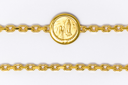 Gold Lourdes Apparition Medal Bracelet