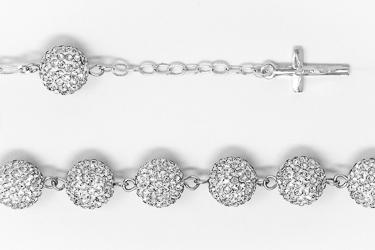 Sterling Silver Rosary Bracelet.