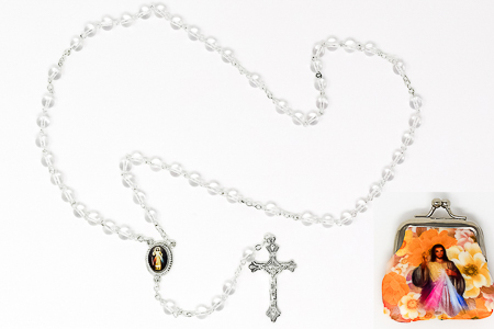 Divine Mercy Rosary Beads & Rosary Purse.