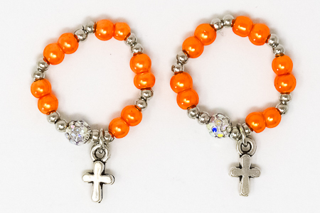 Orange Finger Rosary Ring.