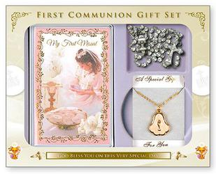 Girls First Holy Communion Rosary Gift Set.