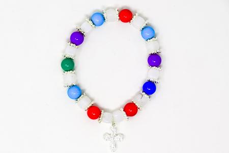Glass Cubed Rosary Bracelet.