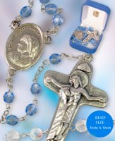 Blue Glass St Teresa Rosary Beads.