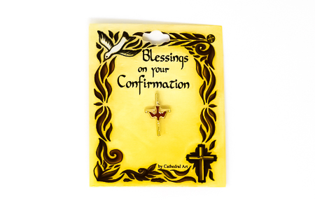 Gold Confirmation Cross and Dove Pin.